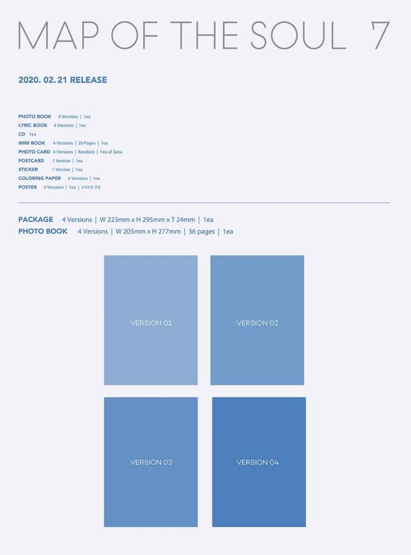 (Direct shipping)Full Set Bts Map of the Soul 7 Album