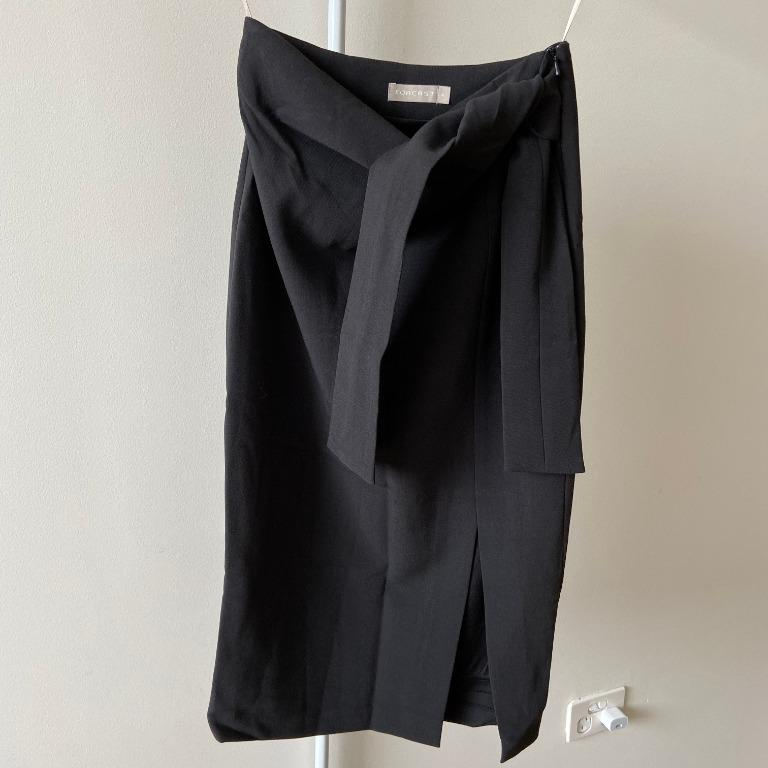 Forcast Black Skirt with Tie Knot Waist and Front Split (Aus Size 6)