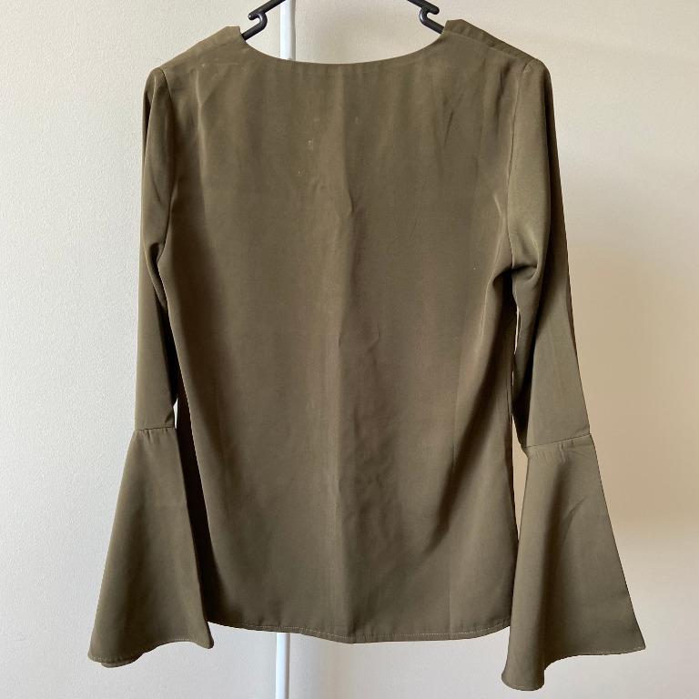 Forcast Khaki Flowy Long Sleeves Blouse (Aus Size 6)