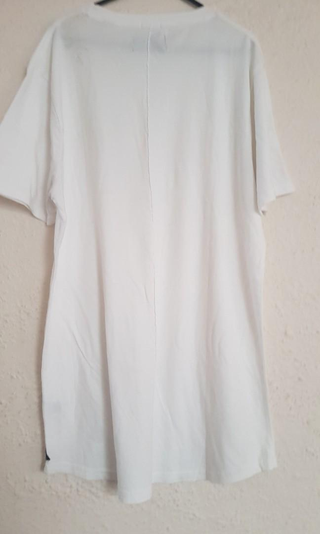 INDUSTRIE Mens Tall Tee Curved Hem White Size Large