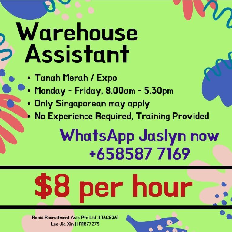 (Jan-Apr)$8 per hour-Warehouse Packer (2 Weeks Salary)