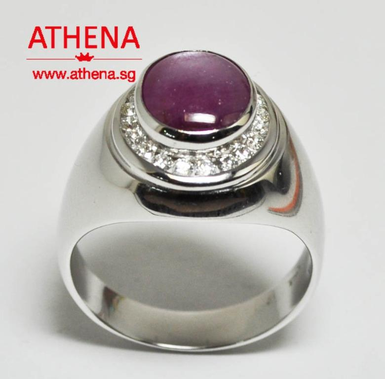 JW_SR_1593 JEWELLERY 18K WG STAR RUBY RING WITH DIAMOND D20-0.50CTS 11.55G ( S1-5.50CTS ) [ UNHEATED WITH CERT. ]