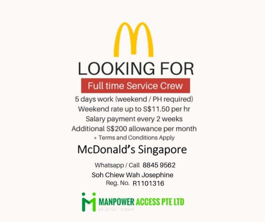 MCDONALDS SERVICE CREW WANTED (FT)