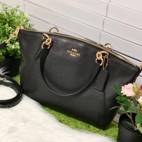 New Authentic COACH F28993 PEBBLE LEATHER SMALL KELSEY SATCHEL CROSSBODY ☑️Brown/Gold,Leather ☑️Black/Glod Leather   🌟245$🌟Instock 🛍