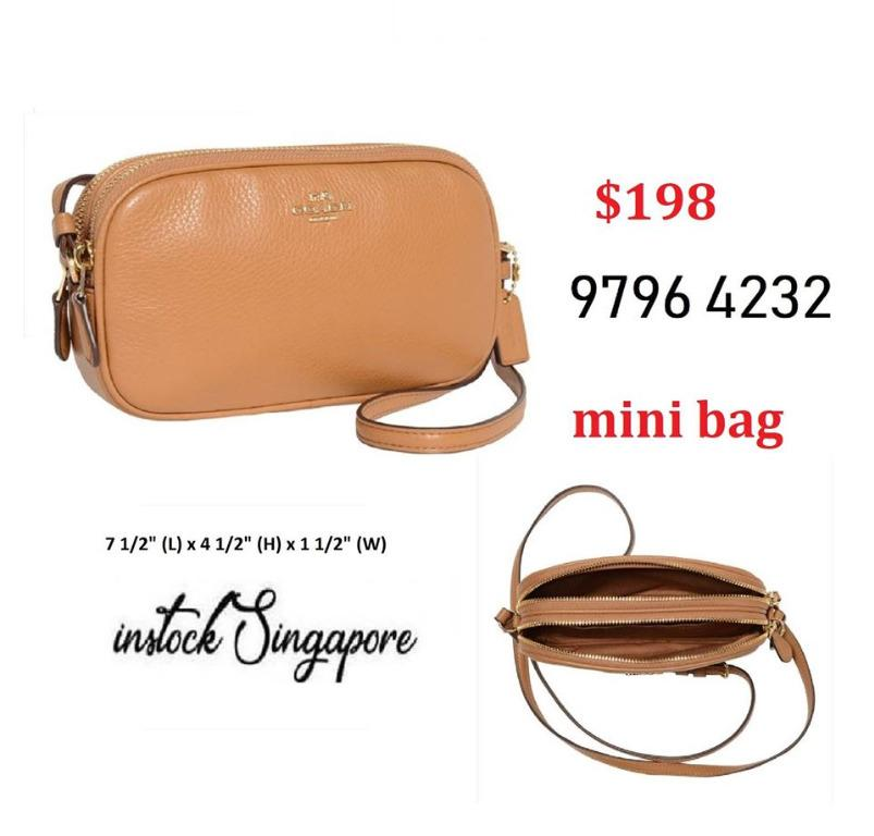 READY STOCK - AUTHENTIC - NEW  coach crossbody bag POUCH (COACH F30259) LIGHT SADDLE/LIGHT GOLD
