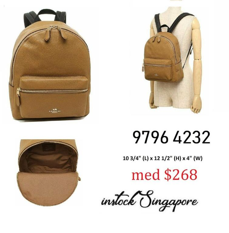 READY STOCK - AUTHENTIC - NEW Coach MEDIUM CHARLIE BACKPACK (COACH F30550) LIGHT SADDLE/LIGHT GOLD