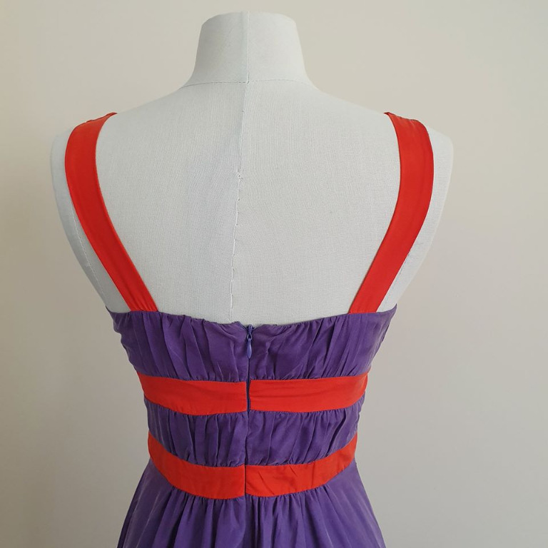 size 34 fits ladies 6 vgc kookai red purple sleeveless dress