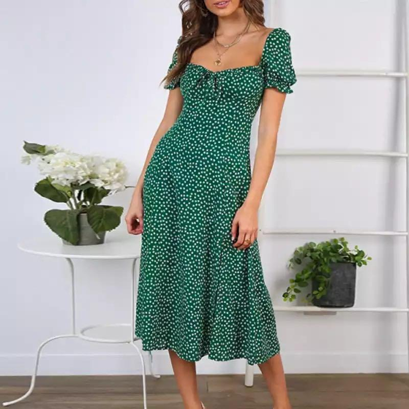 Green and White Floral Print Off Shoulder Dress NWT Size 8-10