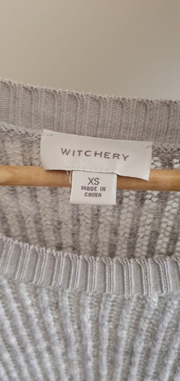 size xs fits ladies 6 vgc witchery grey mesh look knit long sleeve sweater