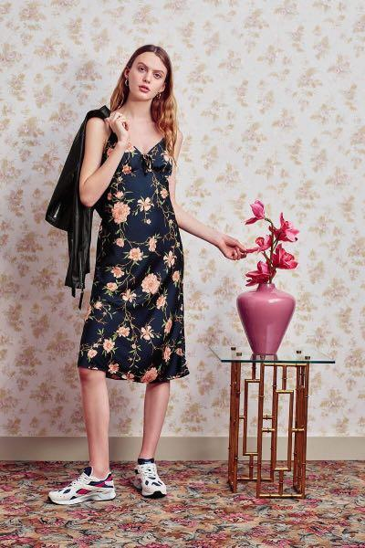 Urban Outfitters (UO) Betsy Satin Tie-Front Midi Slip Dress