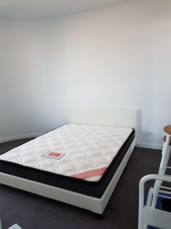 WAS$470, NOW $410 QUEEN BED PACKAGE,MONICA PU LEATHER QUEEN BED+LUNA 1580 PILLOW TOP QUEEN MATTRESS.