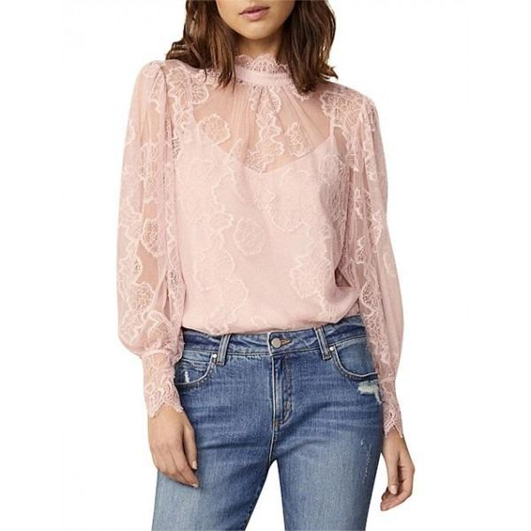Witchery lace pastel pink balloon sleeve blouse top RRP$149.95