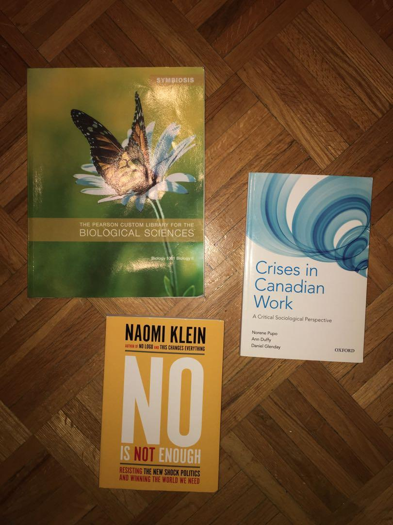 York University SOSC 1510 & BIOL 1001 Textbooks: No is not Enough + Crisis in Canadian Work  + Pearson Custom Textbook