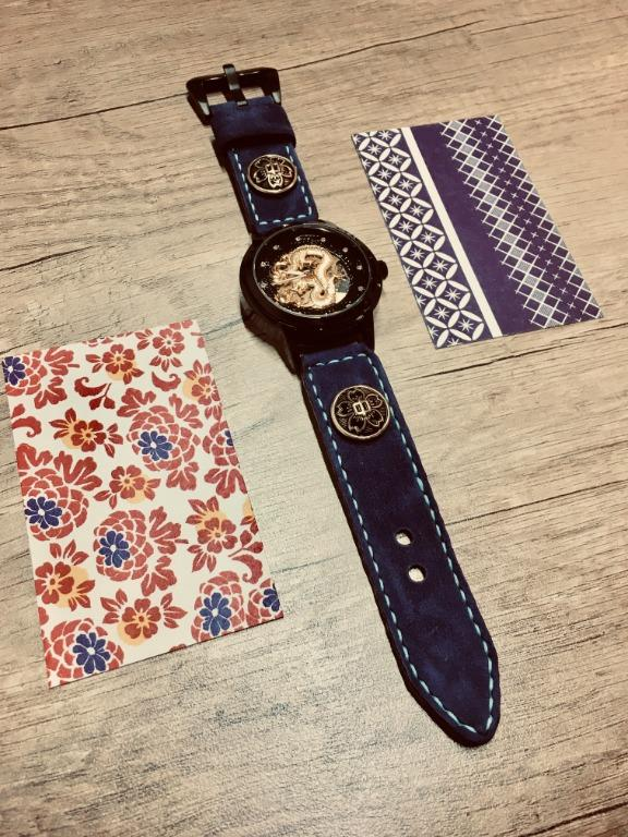 47Ronin#033 Goat skin watch strap with brass button from Japan school uniform (20mm, white stitches)