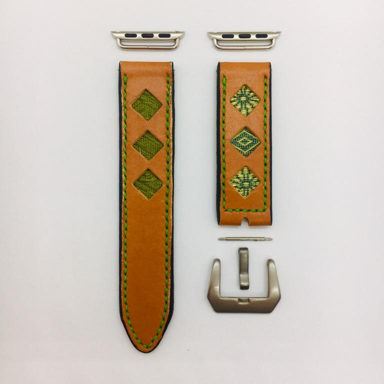 47Ronin#034 Orange calf leather watch strap with Matcha green Tatamiberi from Japan (22mm, green stitches)