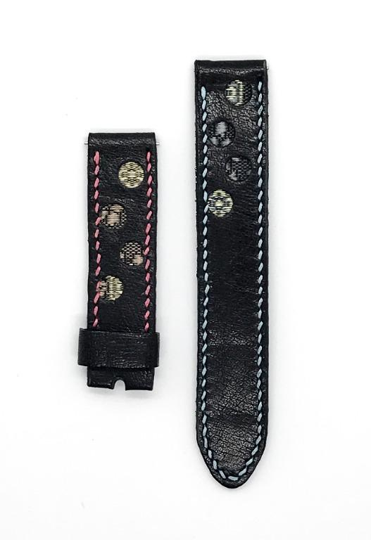 47Ronin#038 Black calf leather watch strap with Blue, pink, gold Tatamiberi from Japan (18mm, blue & pink stitches)