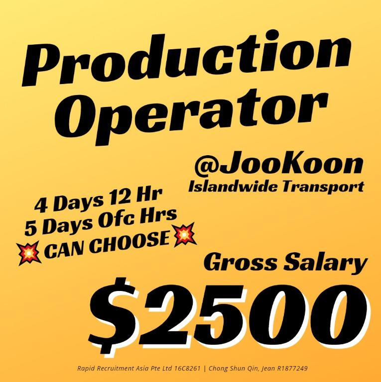 💥🔥 Machine / Production Operator @JooKoon (Gross $2500)