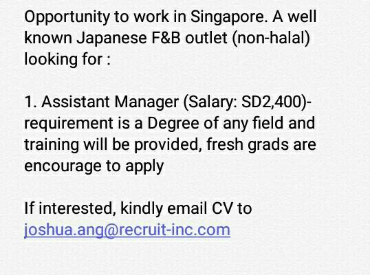Assistant Manager to be based in Singapore. Open to Malaysian