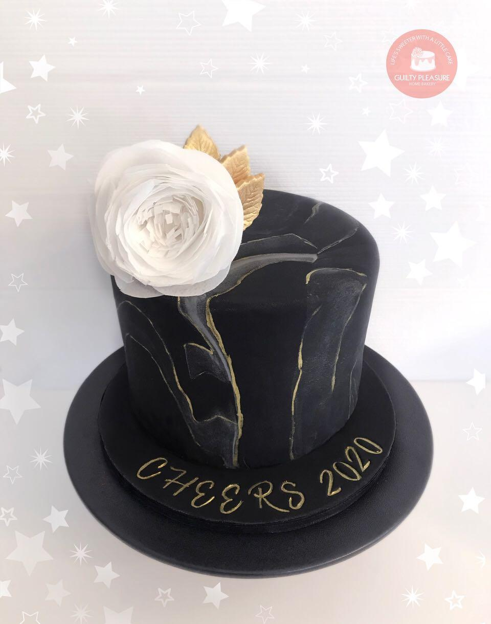 Black Marble Fondant Cake With Wafer Paper Flower Food Drinks Baked Goods On Carousell