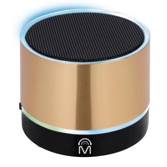 Bluetooth Wireless Mini Speaker with LED Lights (Gold)