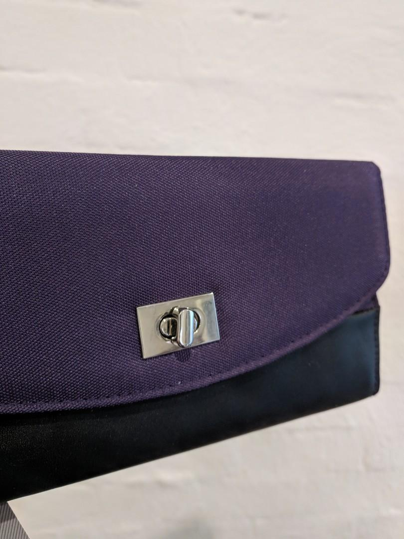 Brand New - Safe ID Accent Turn Lock Clutch Wallet - Purple
