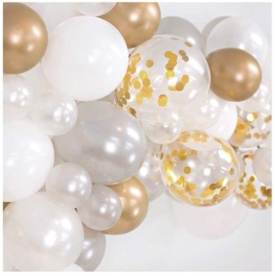 Brand new balloon garland kit 115pcs white/silver/gold/gold confetti