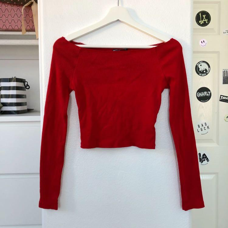 Brandy Melville Red Ribbed Mayson Off The Shoulder Top