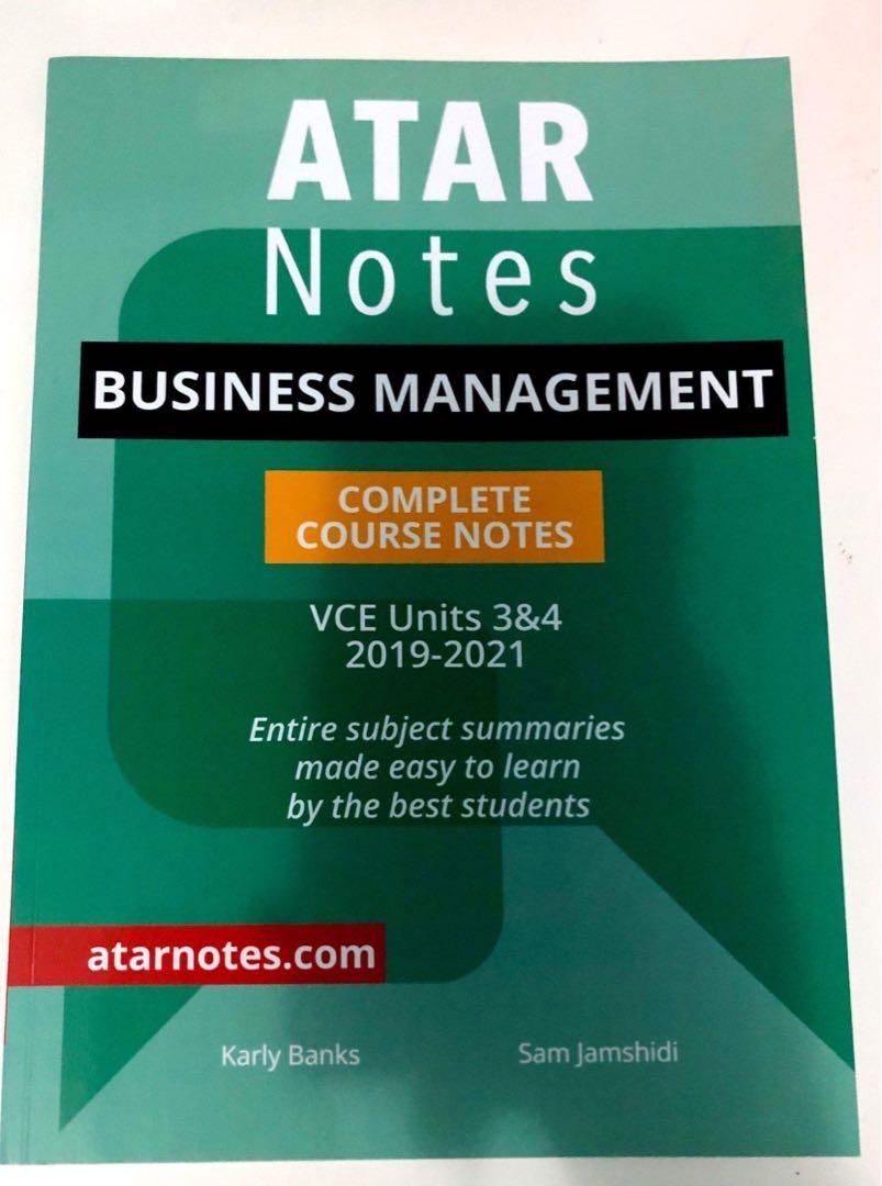 BUSINESS MANAGEMENT Atar Notes tests & course notes