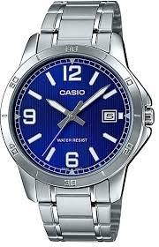 Casio MTP-V004D-2B & LTP-V004D-2B Couple Analog Date Functioning Blue Dial Stainless Steel Strap Original Casual Watch