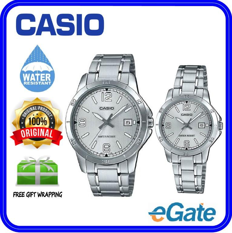 Casio MTP-V004D-7B2 & LTP-V004D-7B2 Couple Analog Date Functioning Silver Stainless Steel Strap Original Casual Watch