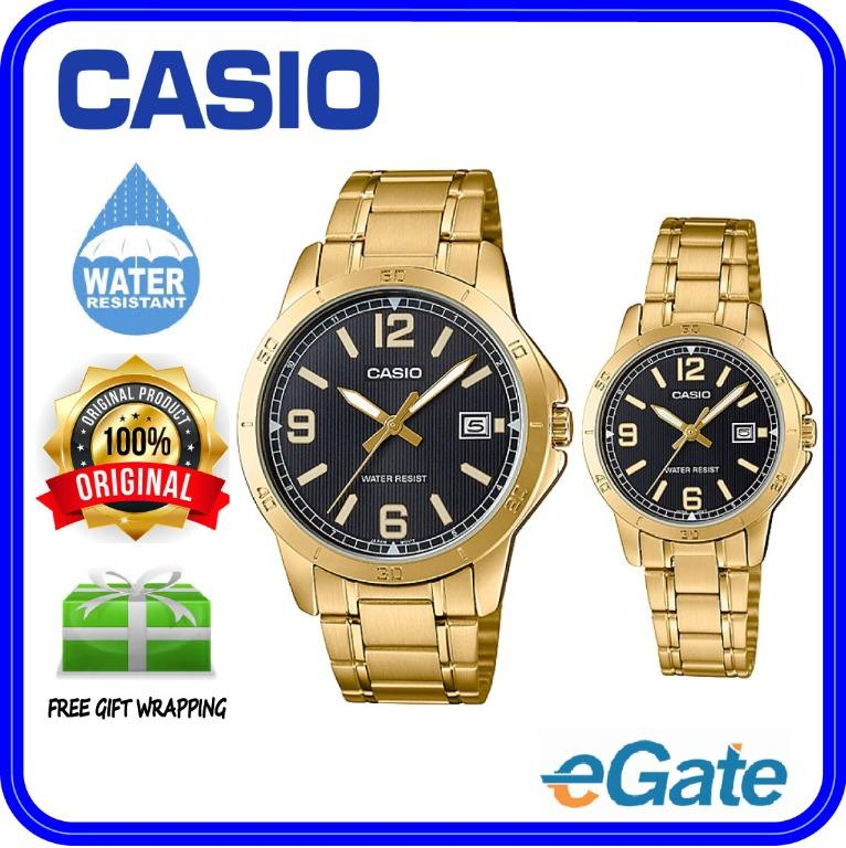 Casio MTP-V004G-1B & LTP-V004G-1B Couple Analog Date Functioning Black Dial Gold Stainless Steel Strap Original Watch