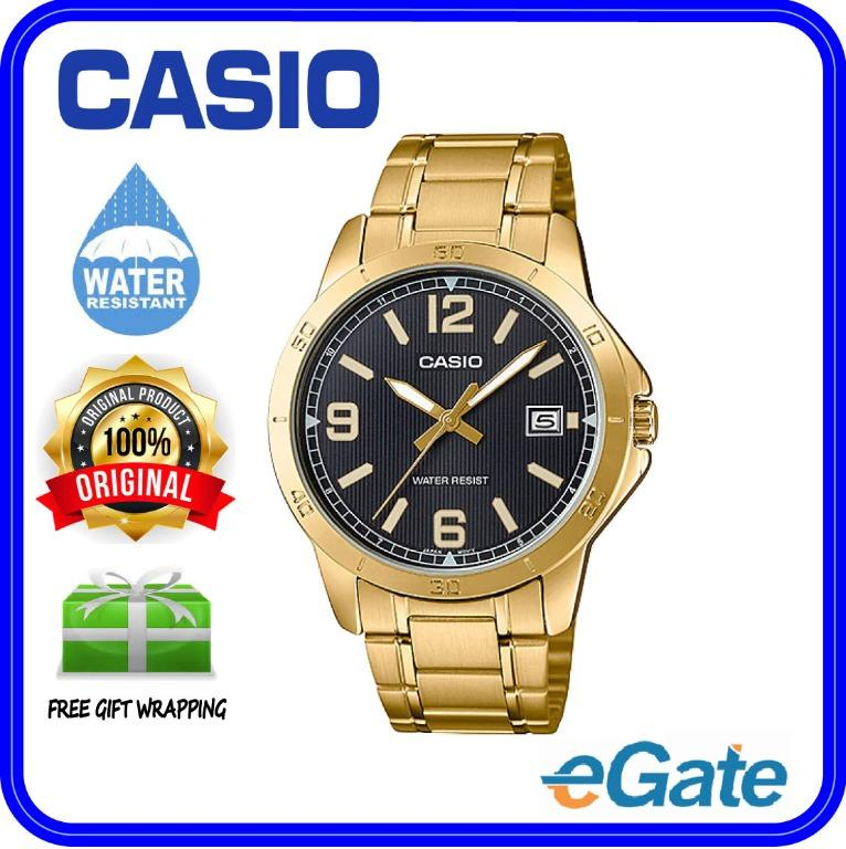 Casio MTP-V004G-1B Men Analog Date Functioning Black Dial Gold Stainless Steel Strap Original Casual Watch MTP-V004G