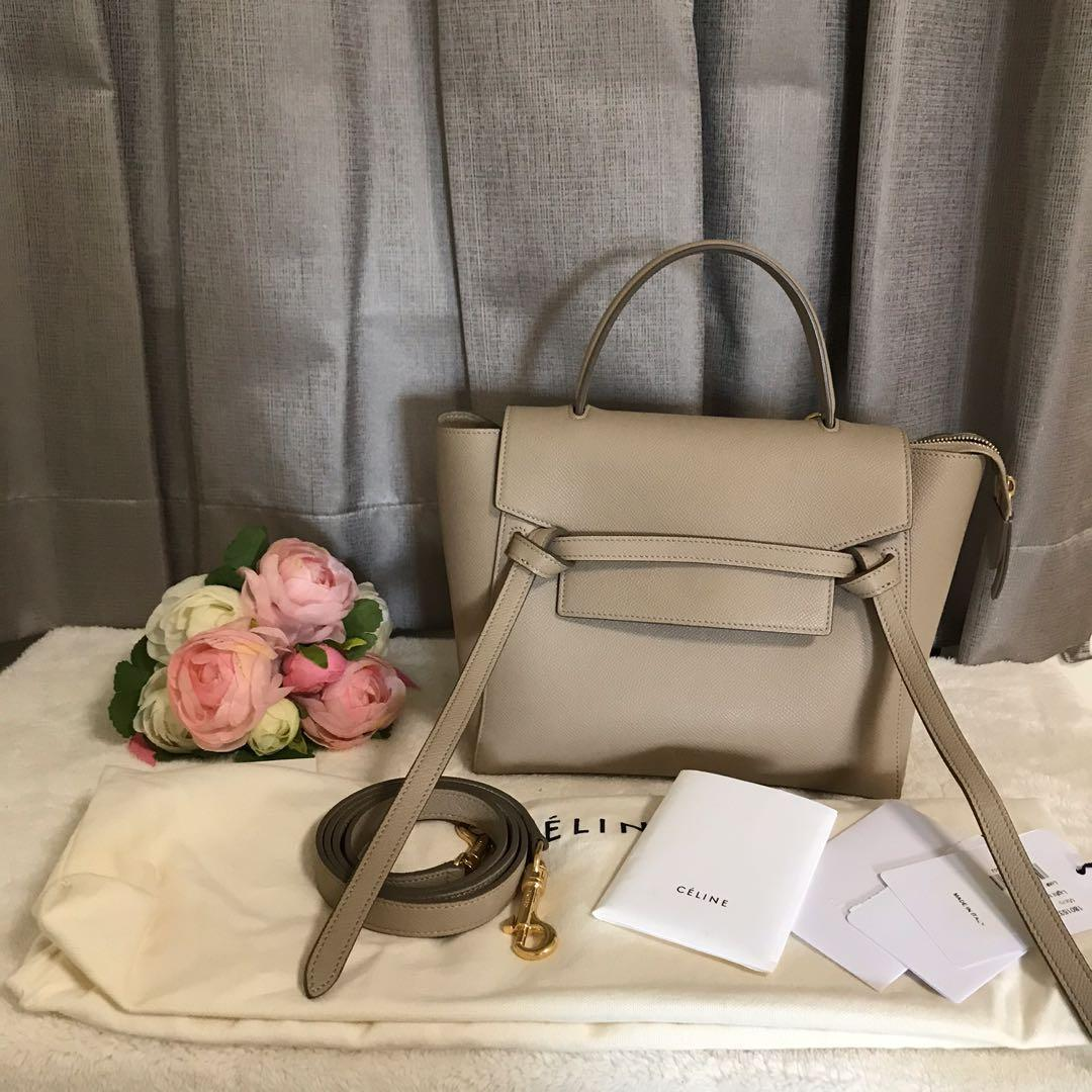 Celine Micro Belt Bag Light Taupe Ghw Luxury Bags Wallets Handbags On Carousell