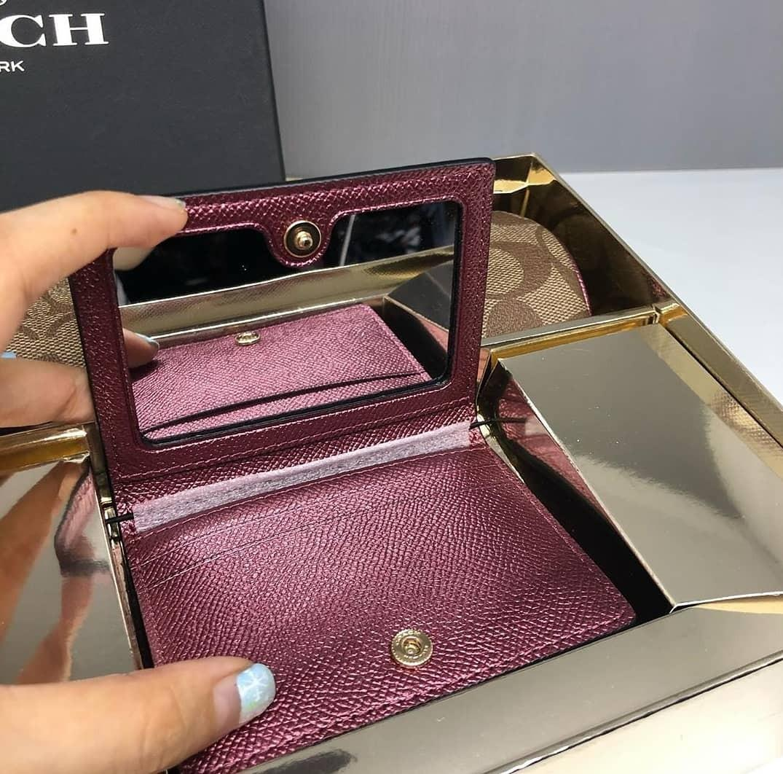 Coach Boxed Make up Brush Holder / cosmetic Case 20×8 and Mirror Card Case 11×7 Gift Set Khaki Wine Multi