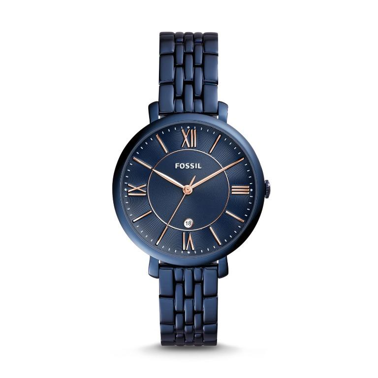 Free Shipping Fossil ES4094 Jacqueline Three-Hand Date Blue Stainless Steel Women Ladies Watch