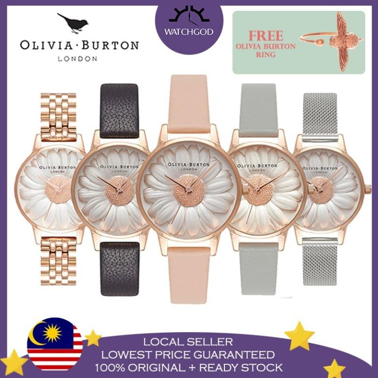 Free Shipping Olivia Burton 3D Daisy Series Rose Gold Mesh Leather Women Watch Jam Tangan Wanita