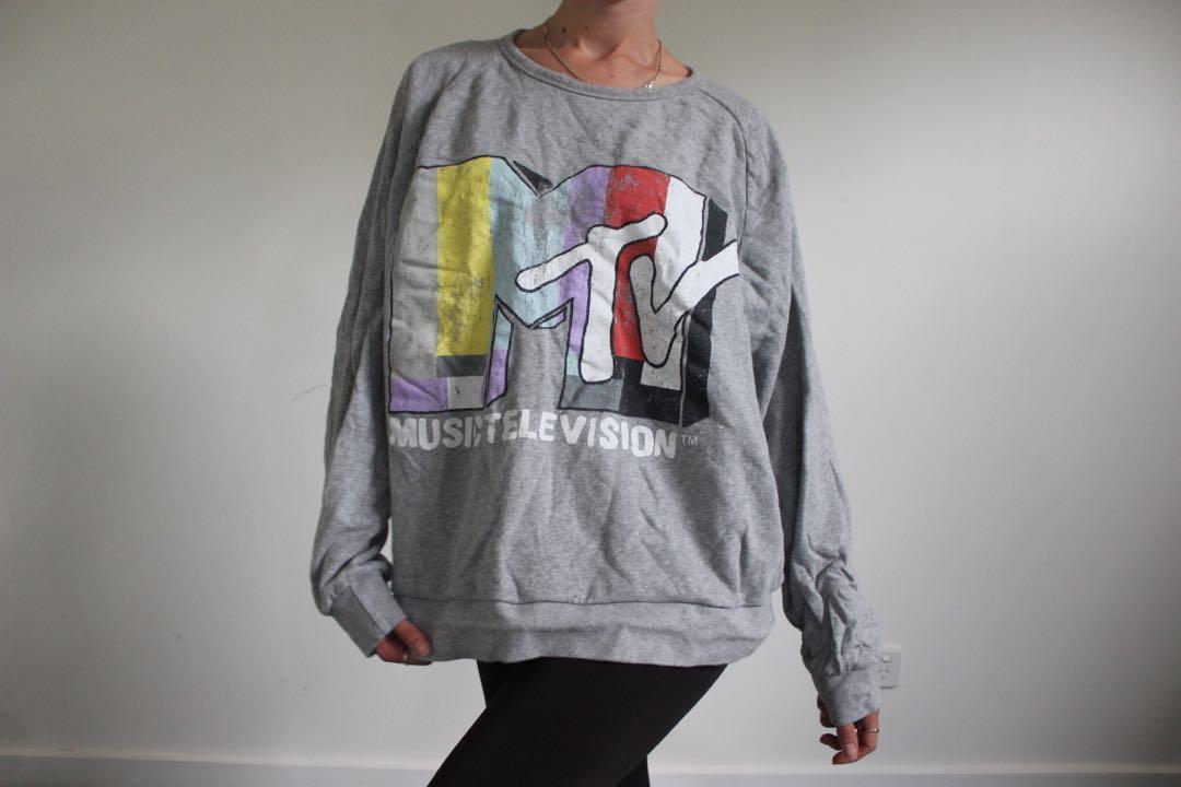 Grey MTV oversized sweater jumper - Men's size 2XL