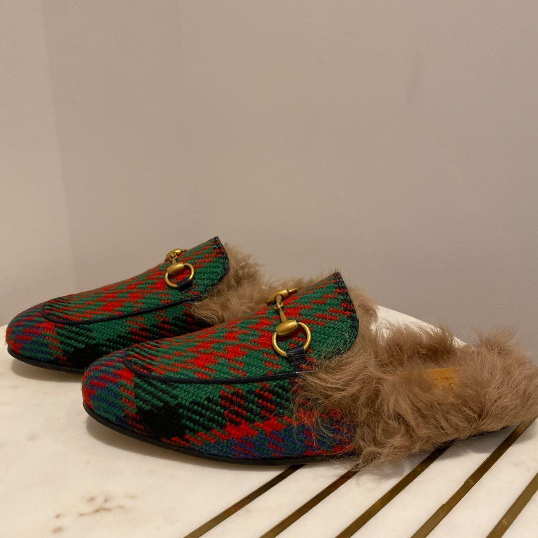 Gucci Princetown Genuine Shearling Plaid Loafer Mule Size 6