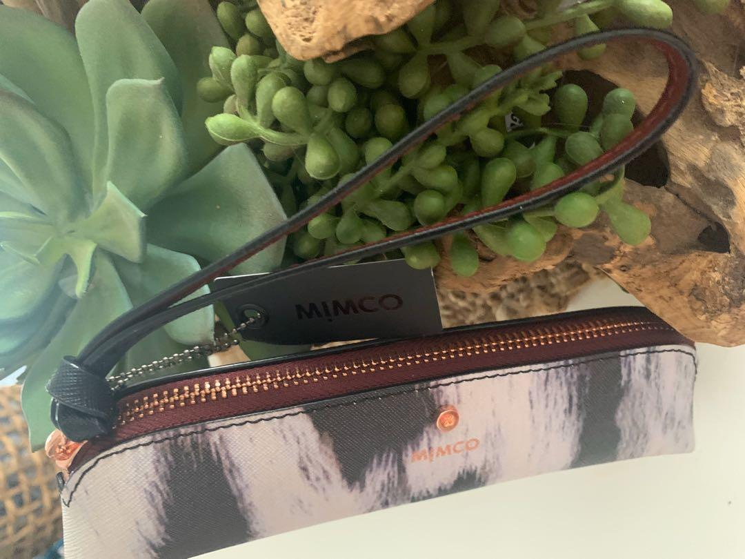 MIMCO Limited Edition Rose Gold / Burgundy Ocelot Print Phenomena Pencil Case / Small Clutch.