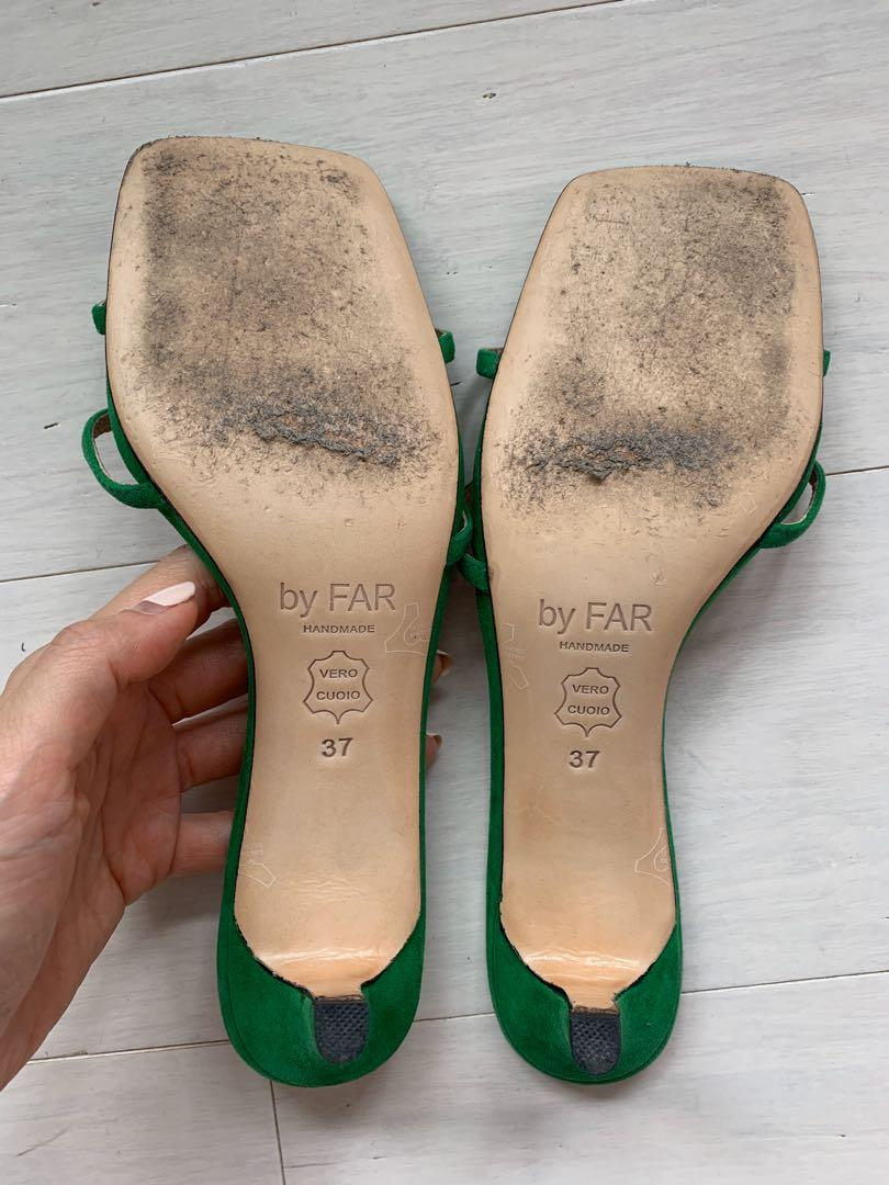 Pre-owned  BY FAR green virgo 45 suede leather mules AU7