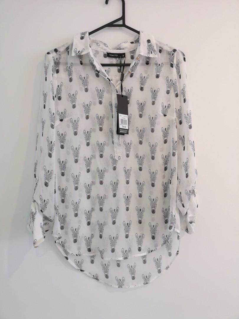 Women's White Zebra Print Tokito Blouse Office Wear