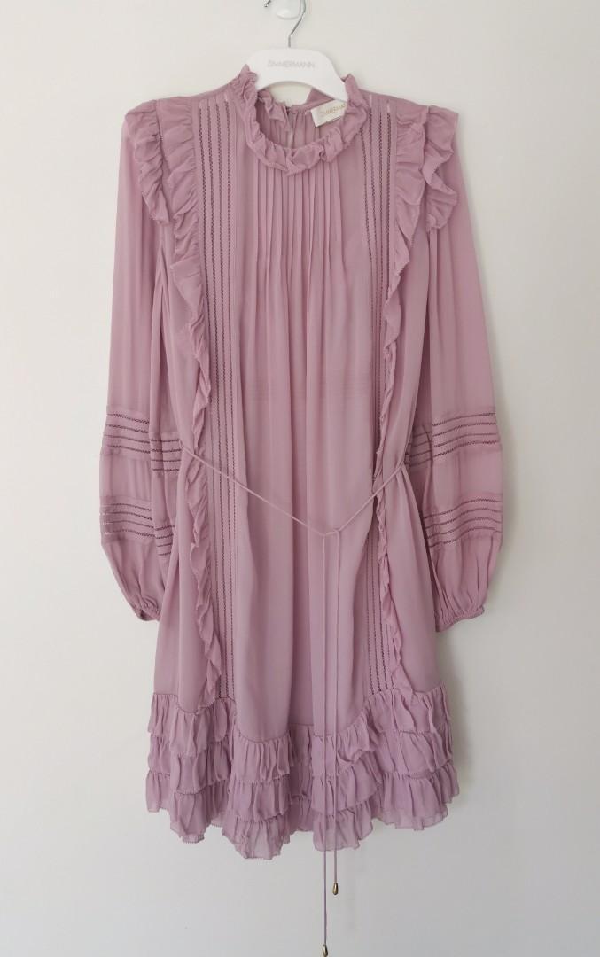 Zimmermann Ninety-Six Linear Mini Dress in Voila (Lilac) - Size 0 RRP $895