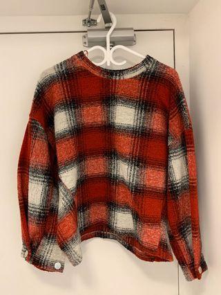 Women's wool sweater (plaid)