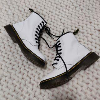 WHITE LEATHER COMBAT BOOTS