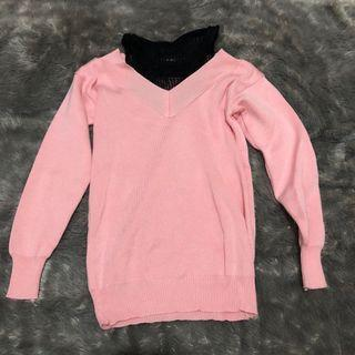 Clouwny - Pink Top Rajut