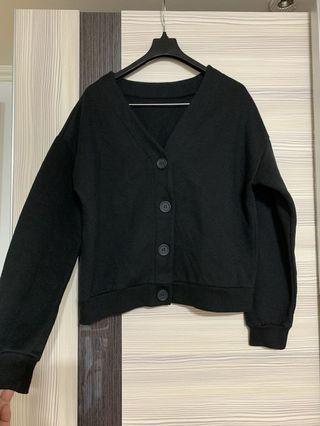 全新黑色刷毛棉質外套