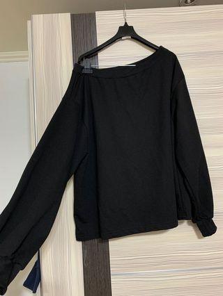 黑色毛圈布上衣-可ㄧ字領可斜肩