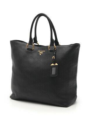 1/9  PRADA VITELLO PHENIX tote bag leather black 2WAY