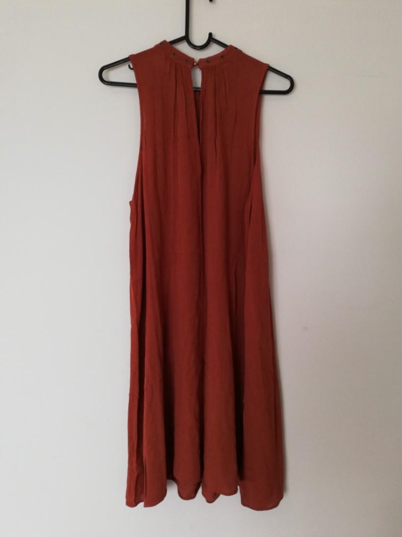 8/S - ASOS - Orange Earthy-Style Maxi Dress w Subtle Button Detail