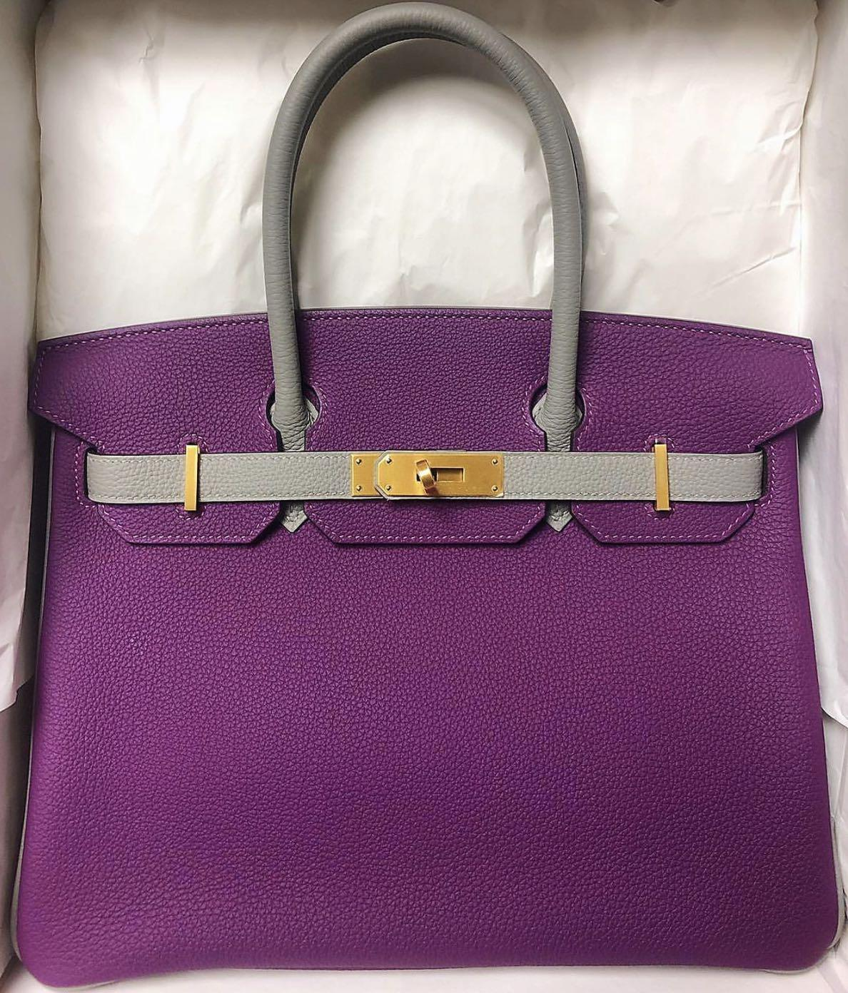 🆕 AUTHENTIC HERMES BIRKIN 30 HSS ANEMONE/GRIS MOUETTE TOGO IN BRUSHED GOLD HARDWARE
